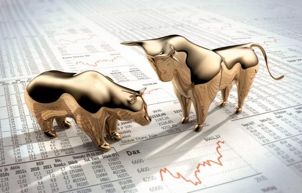 Stock market image of bear and bull